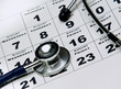 Stethoscope on calendar