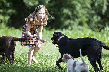 Young girl playing with dogs