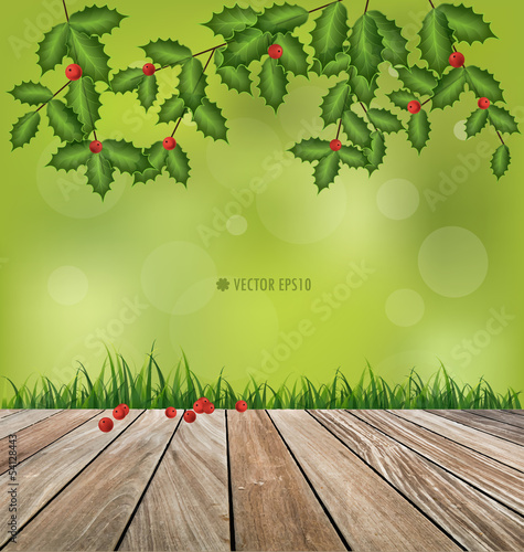 Natural background. Fresh spring green grass and wood floor. Vec