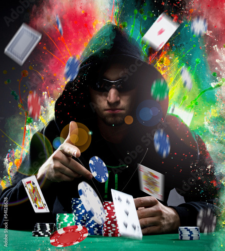 Poker player with colored powder background
