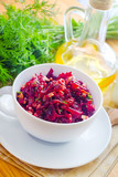 Fresh salad with beet and walnuts, vegetarian salad