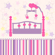 baby crib with carousel - vector illustration