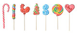set of colorful lollipops isolated on white background