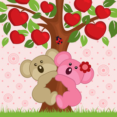 couple in love koala in a tree - vector illustration