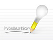 intellection written with a light bulb idea pencil