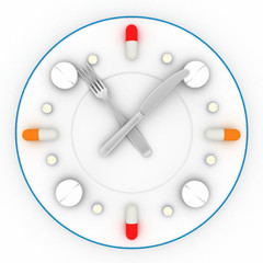 Clock consist of the plate, pills, forks with a knife on  white