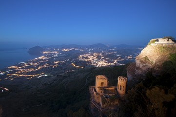 Erice in Sicily (Trapani). View from Venus Castle.