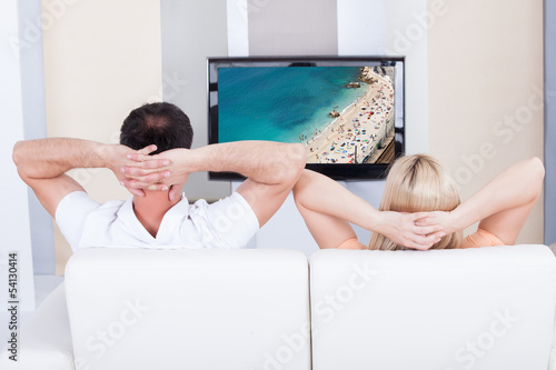 Portrait of couple watching television