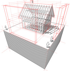 framework construction of a detached house with 3D dimensions