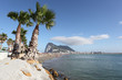 Poniente beach in La Linea, Spain. Gibraltar in background