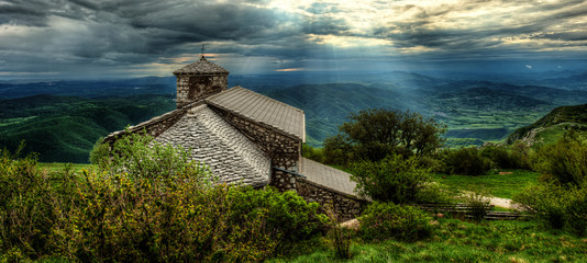 Sant Jerome church on mount Nanos in slovenia, europe after stor