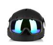Winter sport glasses and helmet, isolated on white