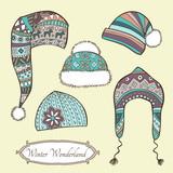 Set with vintage winter caps