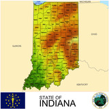 Indiana USA counties name location map background