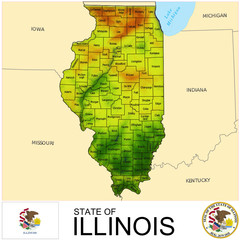 Illinois USA counties name location map background
