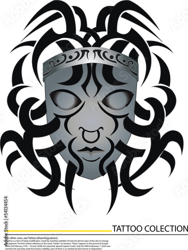silver Medusa tattoo which decorate on white background