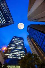 ビル群と月夜