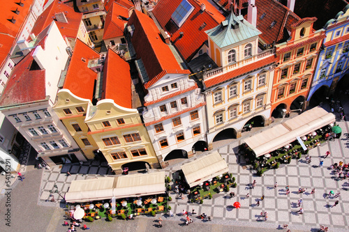 Aerial view of Old Town Square, Prague, Czech Republic