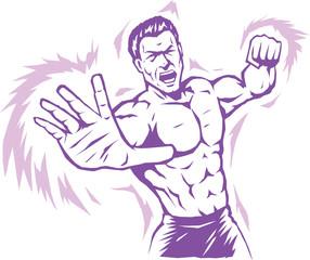 Intense stylized puncher