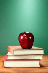 Back to School Books and Apple With Chalkboard