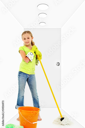 Child Cleaning Home with Mop Bucket Sponge
