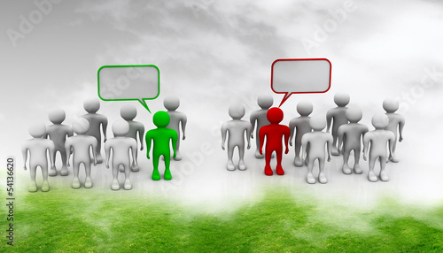 Social networking people with speech bubbles