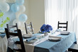 Blue White Hydrangea Table Setting