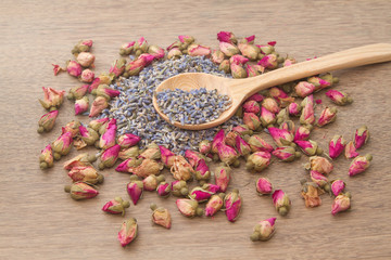 Flower tea, rose buds and Lavender went