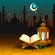 vector illustration of Quran on Eid Mubarak ( Blessing for Eid)