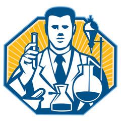 Scientist Lab Researcher Chemist Retro