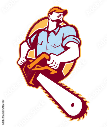 Lumberjack Tree Surgeon Arborist Chainsaw Retro