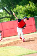 Young boy baseball pitcher