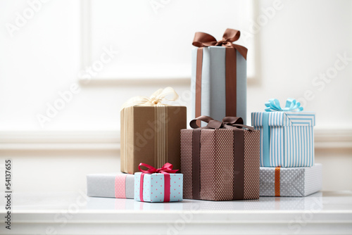 gift boxs on white table.