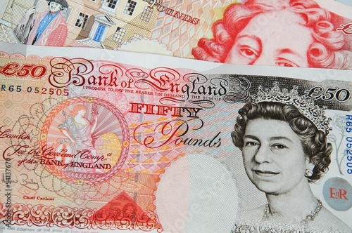 English fifty pound notes © Arena Photo UK