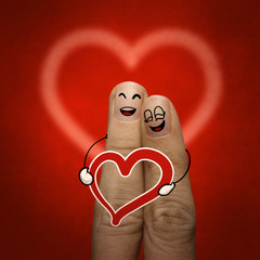 the happy finger couple in love with painted smiley