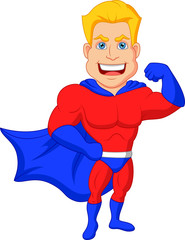 Superhero cartoon posing