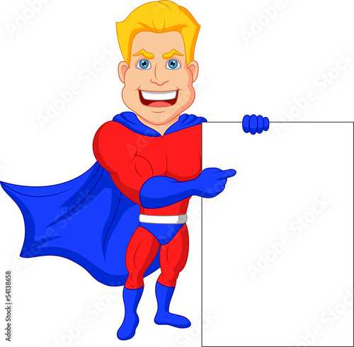 Superhero cartoon with blank sign