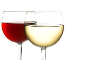 glass of red wine and white wine