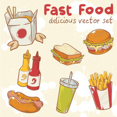 Fastfood vector set with burger, hot dog and french fries