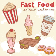 Fastfood vector set withice cream, Popcorn and chocolate