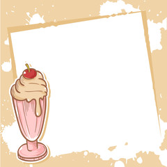 Advertisement invitation card with milkshake