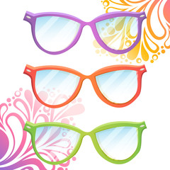 Set of trendy hipster transparent glasses of various colors