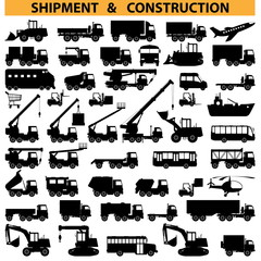 Vector commercial vehicles pictograms