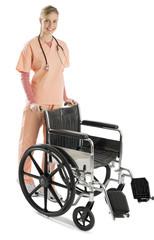 Beautiful Female Nurse With Wheelchair