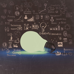 light bulb 3d on business strategy