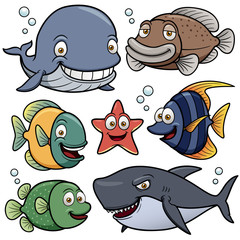 Vector illustration of Sea Animals Collection