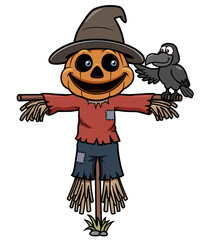 Vector illustration of Cartoon scarecrow
