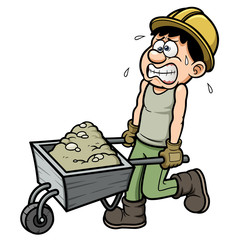 Vector illustration of Cartoon worker with wheelbarrow