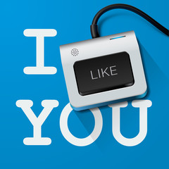 I like you with Keyboard key, vector Eps10 illustration.
