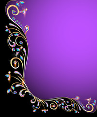 background frame with jewels, golden ornament
